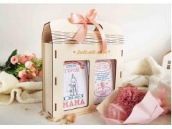 """Подарочный набор в деревянной сумочке """"Мама-герой"""""""